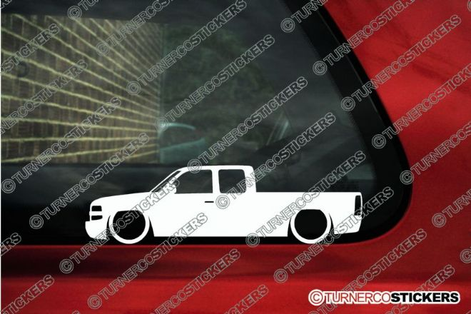 2x LOW Chevrolet Silverado 1500 Extended cab pickup ( 1999-2002 ) Lowered outline stickers